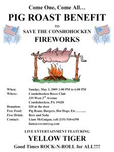Fireworks Pig Roast Fundraiser